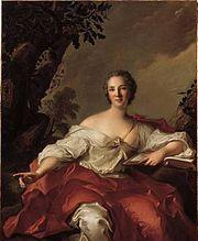 Madame Geoffrin,  (2.6.1699 in Paris; † 6. 10. 1777 in Paris) author and salonnière,