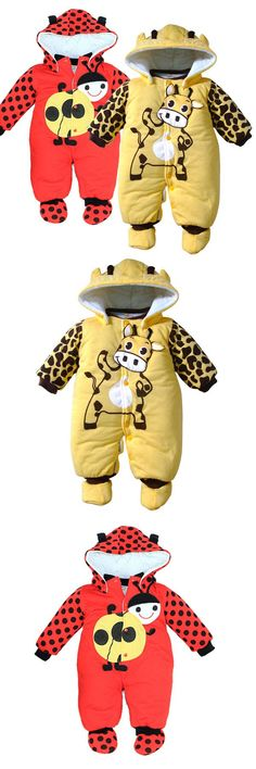 High quality Cartoon Cotton Thick warm Infant Jumpsuit Winter Clothing Baby Romper