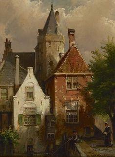 Willem Koekkoek (Amsterdam 1839-1895 Nieuwer-Amstel (thans Amstelveen)) Hengelaar bij de Amersfoortse Kamperbinnenpoort Old Paintings, Seascape Paintings, Amsterdam Art, Dutch Painters, City Landscape, Dutch Artists, Historical Architecture, Pictures To Paint, Home Art