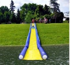 Amazon.com: Rave Sports 02472 Inflatable Turbo Chute Commercial Water Slide Lake Package: Toys & Games