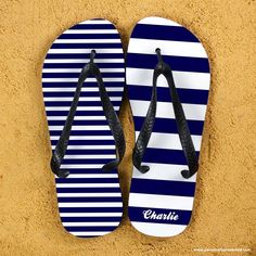 Funky striped flip flops Can be personalised with a name The straps and soles of the flip flops are black. Available in several colourways. Size Guide: Large  10 - 12,  Medium  7 - 9, Small  4 - 6. What Can I Put On Striped Personalised Adult Flip Flops in Blue?  Personalise with name up to 14 characters each heel. Who Is The Gift Ideal For? Ideal Gift for the beach and those summer Days funky and practical. Representing  simplicity, optimism, energy and colour. Your personalised…