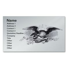 Revolutionary War Eagle Business Card printed on a silver background.
