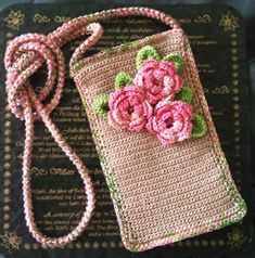 "Crochet Phone Pouch Handmade beauty by Elvi: Cell phone cover ""Irish Rose"""