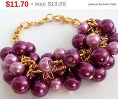 Sale Marsala Pearl Bracelet/ Beaded Bracelet/ от ElenaVorobey
