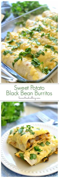 The BEST Sweet Potato Black Bean Burritos made with fresh sweet potatoes, black beans, cilantro, onions, and cheese. Make them ahead for a quick & easy weeknight meal! make ahead paleo lunch Mexican Food Recipes, Vegetarian Recipes, Dinner Recipes, Cooking Recipes, Healthy Recipes, Dinner Ideas, Mexican Meals, Vegetarian Dinners, Mexican Dishes