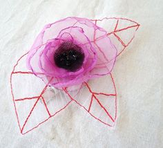 Petite fuschia organza flower with large white organza leaves. Hair clip-brooch-pin-corsage