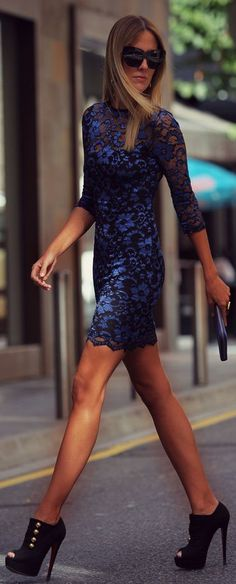 Blue Lace Dress by Style Lover