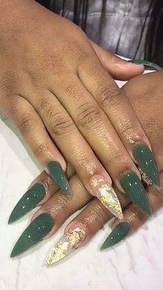 Army green and gold stiletto shaped set