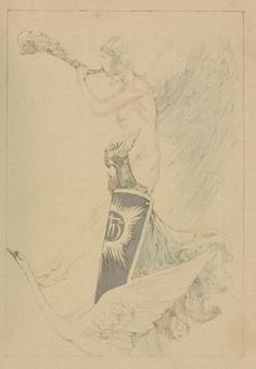 """Willy Pogany (1882-1955), Illustration pour """"The tale of Lohengrin, Knight of the Swan"""" par T. W. Rolleston - 1914"""