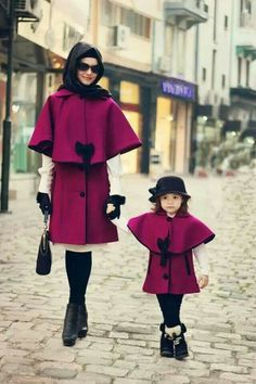 Purple coat and black boots | coordinated mum and daughter outfit | hijab muslimah fashion