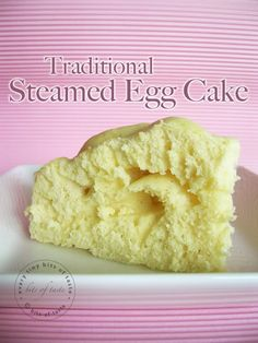 Traditional Steamed Egg Cake (little less than cup) Castor sugar, Cake flour cup 2 tbsp)/Superfine flour, 1 tsp Baking tbsp Milk Asian Desserts, Easy Desserts, Delicious Desserts, Yummy Food, Steamed Eggs, Steamed Cake, Baking Recipes, Cake Recipes, Dessert Recipes