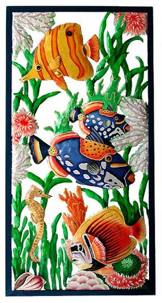 Large Hand Painted Tropical Fish Wall Panel - 17 x 35   * Hand Painted Steel Drum Art of Haiti   - Coastal Decor – Island Style - Beach Decor - Nautical Decor -  Tropical Decor- More tropical design ideas can be found at www.TropicDecor.com