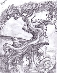 fantasy tree drawing | Displaying 17> Images For - Trippy Drawings In Pencil...