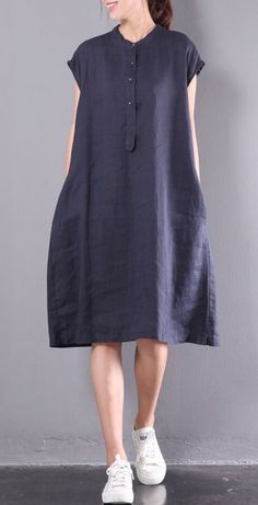 02c294e3087 navy casual linen dresses plus size button sundress short sleeve maxi dress