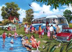 Diamond Painting Summer Trip to the Lake Kit Best Jigsaw, Days Out With Kids, Retro, Family Poster, Gif Animé, 5d Diamond Painting, Cartoon Art Styles, Puzzle Art, Funny Art