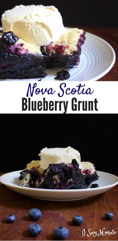 Nova Scotia Blueberry Grunt This traditional Nova Scotia dessert is packed with blueberries and made in a single pan on the stove. Köstliche Desserts, Delicious Desserts, Dessert Recipes, Yummy Food, Diabetic Desserts, Italian Desserts, Canadian Cuisine, Canadian Food, Canadian Recipes