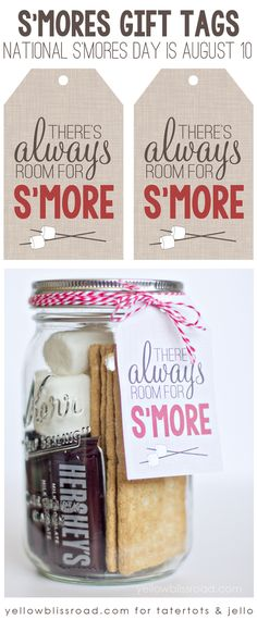 "Delicious S'Mores Recipes ""There's Always Room for S'More"" free printable graphic. Perfect for National S'Mores Day August Always Room for S'More"" free printable graphic. Perfect for National S'Mores Day August Food Gifts, Craft Gifts, Diy Gifts, Mason Jar Gifts, Mason Jars, Diy Christmas Gifts, Holiday Gifts, Santa Gifts, Christmas Party Favors"