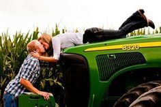 "Is this the ""take me for a ride on a big green tractor"" engagement photo?  I don't live in a farm town, how would we pull this off?  lol"