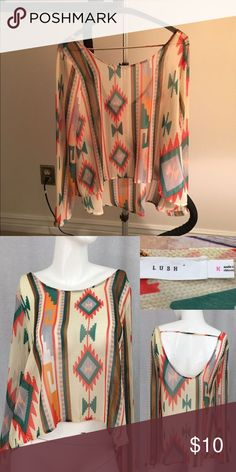 Lush sheer Aztec print top Super cute Aztec print top with open back. Barely worn Lush Tops Blouses