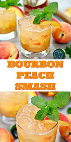 Bourbon Peach Smash Cocktail Peaches are a delicious summer staple in our home, and we also love our Kentucky bourbon. Put the two together, and you get this amazing Bourbon Peach Smash cocktail, one of the most refreshing bourbon drinks we've ever had! Peach Drinks, Bourbon Drinks, Cocktail Drinks, Cocktail Recipes, Bourbon Recipes, Disney Cocktails, Summer Bourbon Cocktails, Peach Alcohol Drinks, Summer Drink Recipes