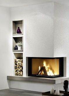 Built in fireplace with wood storage