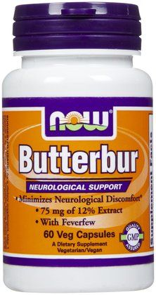 NOW Foods Butterbur w Feverfew 75 mg VCaps - Free Shipping