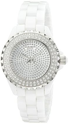 """Akribos+XXIV+Women's+AKR457WT+""""Lady+Diamond+Collection""""+Crystal-Accented+Watch"""
