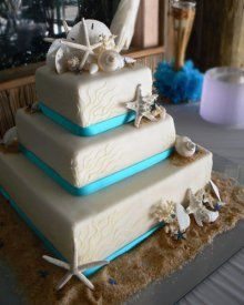 White square beach themed cake my cake when we renew our wedding vows, yes it will be at the beach :)