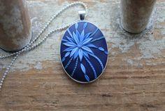 Pendant Indigo blue bloom by JitterbugStudio on Etsy