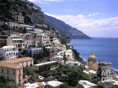 The Beach and City of Positino on the Amalfi Coast in Italy Photographic Print by Richard Nowitz at Art.com