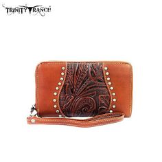 TRINITY RANCH TOOLED WALLET - BROWN