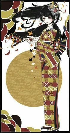 hoa hoa tóc dài Pretty Anime Girl, Kawaii Anime Girl, Anime Art Girl, Manga Anime, Anime Kimono, Beautiful Drawings, Beautiful Artwork, Cute Illustration, Character Illustration