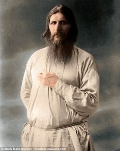 New colour photographs of the Russian 'faith healer' Rasputin have brought his chilling ga...