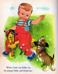 "My Puppy, Illustrations by Eloise Wilkin, 1955, 1972 edition- Kiddy Car    		from ""My Puppy"",  Little Golden Book, 1955 (1972 edition)by Patsy ScarryIllustrations by Eloise Wilkin 1955"