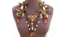 OOAK Leather tribal bib statement necklace