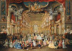 Jakob Rousseau - Maskenball m. Clemens August im Hoftheater, Bonn, 1754 Brühl, Schloss Augustusburg, Inv. EV I 17A 8350 (alternativ Pendant im KSM Köln)
