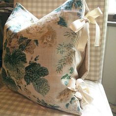 Throw pillow cover in Lee Jofa Althea linen with striped lining & ribbon ties - Tessa Foley, Nine & Sixteen: