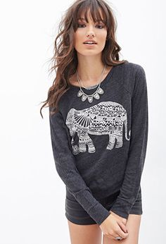Elephant Graphic Knit Top | FOREVER21 - 2000119604 Size Small