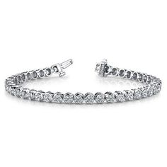 14K White Gold Diamond Round Brilliant 3 Prong Set Tennis Bracelet (5.16ctw.) ** Visit the image link more details. (This is an affiliate link and I receive a commission for the sales)