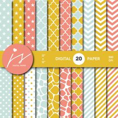 Yellow Coral Blue Digital Paper Seamless Paper by JSdigitalpaper