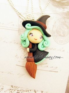 *POLYMER CLAY ~ Little Witch Wicca magica  inspired. €25.00, via Etsy.