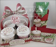 Holiday Gift-Giving Class...Perfect Blend Stamp Set and Season of Style Designer Paper.  Tutorial for the 4 oz. cup carrier is for Sale.