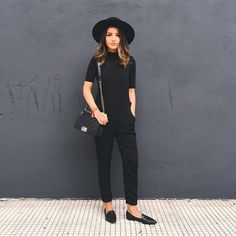 black fashion Pin for Later: 33 Easy Black Outfits That Will Speak to Your Soul A Sleeved Jumpsuit, Hat, and Loafers Outfits With Hats, Casual Outfits, Fashion Outfits, Easy Outfits, Woman Outfits, Fashion Styles, Style Fashion, Fashionable Outfits, Fashion Weeks