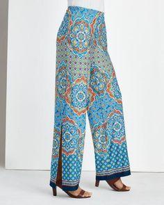 Dreamweaver Border Print Pant -- Women's split wide-leg pant in a rich Moroccan tile-style print.