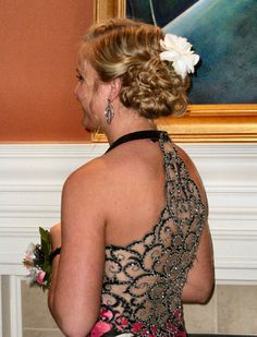 Brynne's prom updo and back of dress
