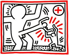 Keith Haring Cockfight, 1985 Lithograph 32 х 40 in. x cm.) Signed, numbered, dated in pencil by artist (see illustrations) Edition Images Pop Art, Kritzelei Tattoo, James Rosenquist, Keith Haring Art, Tv Movie, Frieze Art Fair, Andy Warhol Art, New York Art, Claes Oldenburg