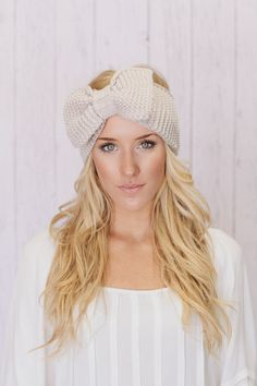 Knitted Bow Headband LARGE Bow Ear Warmer Vanilla Latte (HBK3-04). $38.00, via Etsy.