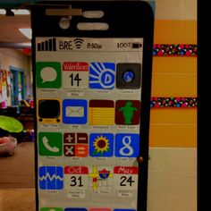 iPhone school door decor w/important dates/activities for their 5th grade class.