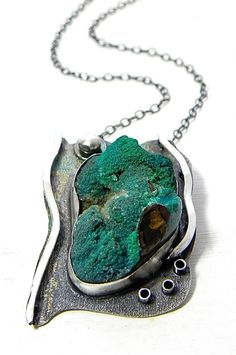 Amazonite Specimen Sterling Necklace Wild Prairie Silver Jewelry Handmade One of a Kind. $265.00, via Etsy.