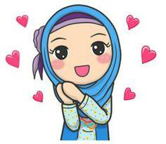 Cute girl blue. Love Cartoon Couple, Cute Cartoon Girl, Cartoon Kids, Cartoon Art, Emoji People, Hijab Drawing, Islamic Cartoon, Blog Backgrounds, Anime Muslim